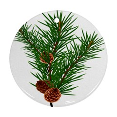 Branch Floral Green Nature Pine Round Ornament (two Sides)