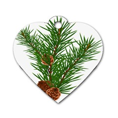 Branch Floral Green Nature Pine Dog Tag Heart (one Side)