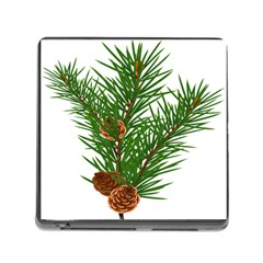 Branch Floral Green Nature Pine Memory Card Reader (square)