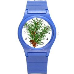 Branch Floral Green Nature Pine Round Plastic Sport Watch (s)
