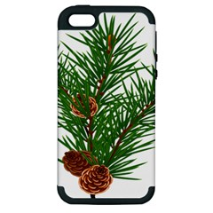 Branch Floral Green Nature Pine Apple Iphone 5 Hardshell Case (pc+silicone)