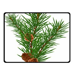 Branch Floral Green Nature Pine Double Sided Fleece Blanket (small)