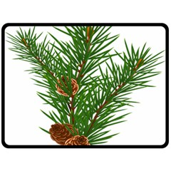 Branch Floral Green Nature Pine Double Sided Fleece Blanket (large)