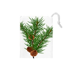 Branch Floral Green Nature Pine Drawstring Pouches (small)