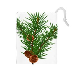 Branch Floral Green Nature Pine Drawstring Pouches (large)