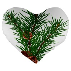 Branch Floral Green Nature Pine Large 19  Premium Flano Heart Shape Cushions