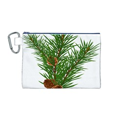 Branch Floral Green Nature Pine Canvas Cosmetic Bag (m)