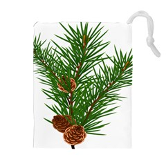 Branch Floral Green Nature Pine Drawstring Pouches (extra Large)