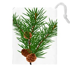 Branch Floral Green Nature Pine Drawstring Pouches (xxl)