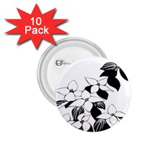 Ecological Floral Flowers Leaf 1 75  Buttons (10 Pack)