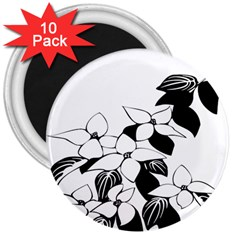 Ecological Floral Flowers Leaf 3  Magnets (10 Pack)