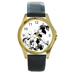 Ecological Floral Flowers Leaf Round Gold Metal Watch