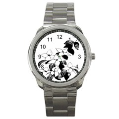 Ecological Floral Flowers Leaf Sport Metal Watch