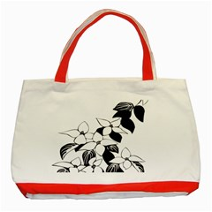 Ecological Floral Flowers Leaf Classic Tote Bag (red)