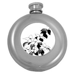Ecological Floral Flowers Leaf Round Hip Flask (5 Oz)