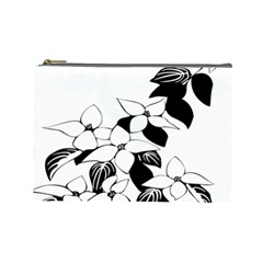 Ecological Floral Flowers Leaf Cosmetic Bag (large)