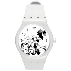 Ecological Floral Flowers Leaf Round Plastic Sport Watch (m)