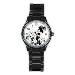 Ecological Floral Flowers Leaf Stainless Steel Round Watch