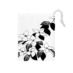 Ecological Floral Flowers Leaf Drawstring Pouches (medium)