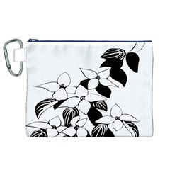Ecological Floral Flowers Leaf Canvas Cosmetic Bag (xl)