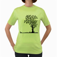 Flowers Landscape Nature Plant Women s Green T Shirt
