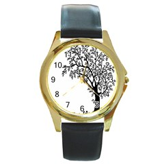 Flowers Landscape Nature Plant Round Gold Metal Watch