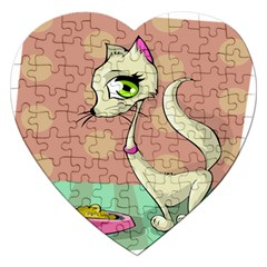 Cat Food Eating Breakfast Gourmet Jigsaw Puzzle (heart)