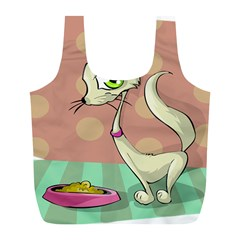 Cat Food Eating Breakfast Gourmet Full Print Recycle Bags (l)
