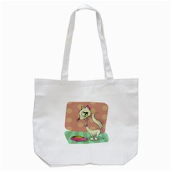 Cat Food Eating Breakfast Gourmet Tote Bag (white)