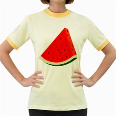 Fruit Harvest Slice Summer Women s Fitted Ringer T Shirts