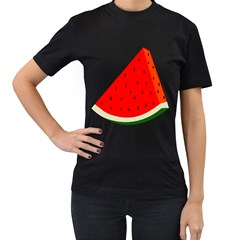 Fruit Harvest Slice Summer Women s T Shirt (black) (two Sided)
