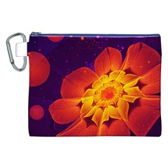 Royal Blue, Red, And Yellow Fractal Gerbera Daisy Canvas Cosmetic Bag (xxl)