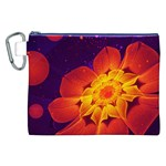 Royal Blue, Red, and Yellow Fractal Gerbera Daisy Canvas Cosmetic Bag (XXL) Front