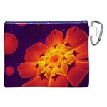 Royal Blue, Red, and Yellow Fractal Gerbera Daisy Canvas Cosmetic Bag (XXL) Back