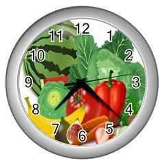Fruits Vegetables Artichoke Banana Wall Clocks (silver)