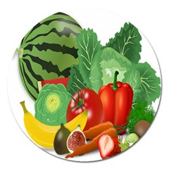 Fruits Vegetables Artichoke Banana Magnet 5  (round)