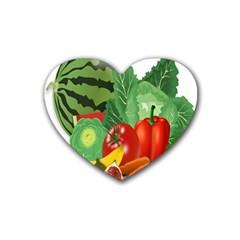Fruits Vegetables Artichoke Banana Heart Coaster (4 Pack)