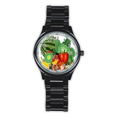 Fruits Vegetables Artichoke Banana Stainless Steel Round Watch