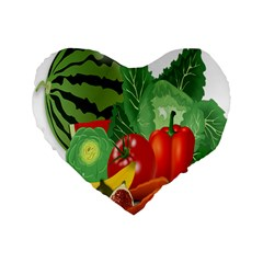 Fruits Vegetables Artichoke Banana Standard 16  Premium Flano Heart Shape Cushions