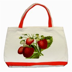Food Fruit Leaf Leafy Leaves Classic Tote Bag (red)