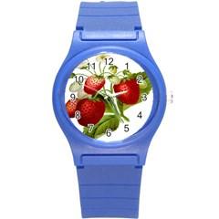Food Fruit Leaf Leafy Leaves Round Plastic Sport Watch (s)