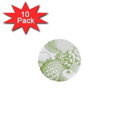 Fruits Vintage Food Healthy Retro 1  Mini Buttons (10 Pack)