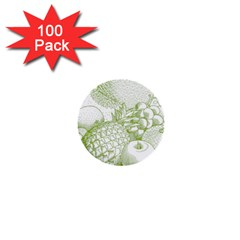 Fruits Vintage Food Healthy Retro 1  Mini Buttons (100 Pack)