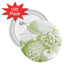 Fruits Vintage Food Healthy Retro 2 25  Buttons (100 Pack)