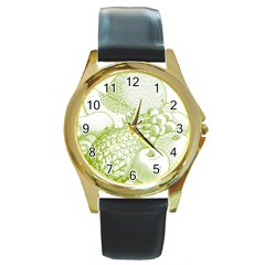 Fruits Vintage Food Healthy Retro Round Gold Metal Watch