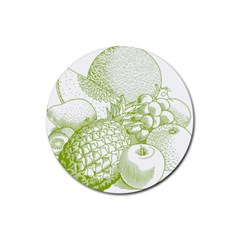 Fruits Vintage Food Healthy Retro Rubber Round Coaster (4 Pack)