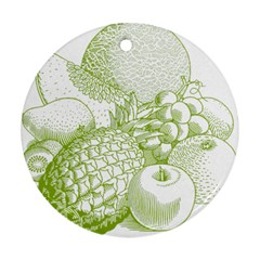 Fruits Vintage Food Healthy Retro Round Ornament (two Sides)