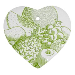 Fruits Vintage Food Healthy Retro Heart Ornament (two Sides)