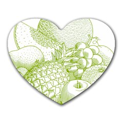 Fruits Vintage Food Healthy Retro Heart Mousepads