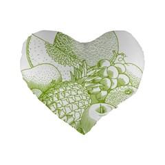 Fruits Vintage Food Healthy Retro Standard 16  Premium Heart Shape Cushions